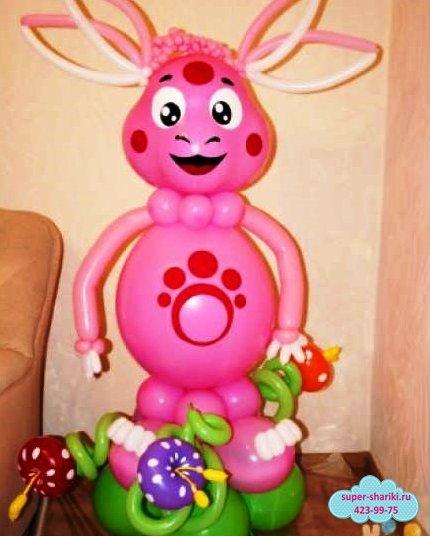 лунтик из шаров, лунтик из воздушных шаров, фигуры из шаров нижний новгород