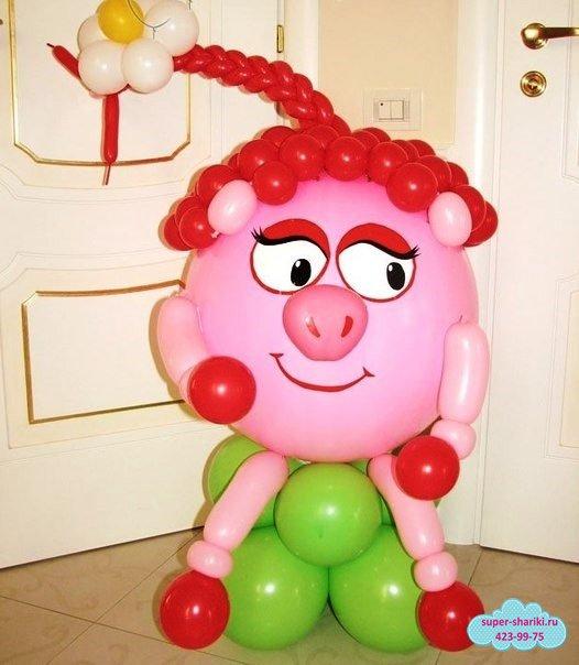 смешарики из шаров, смешарики из воздушных шаров, нюша из шаров, фигурки из шаров на день рождения ребенка