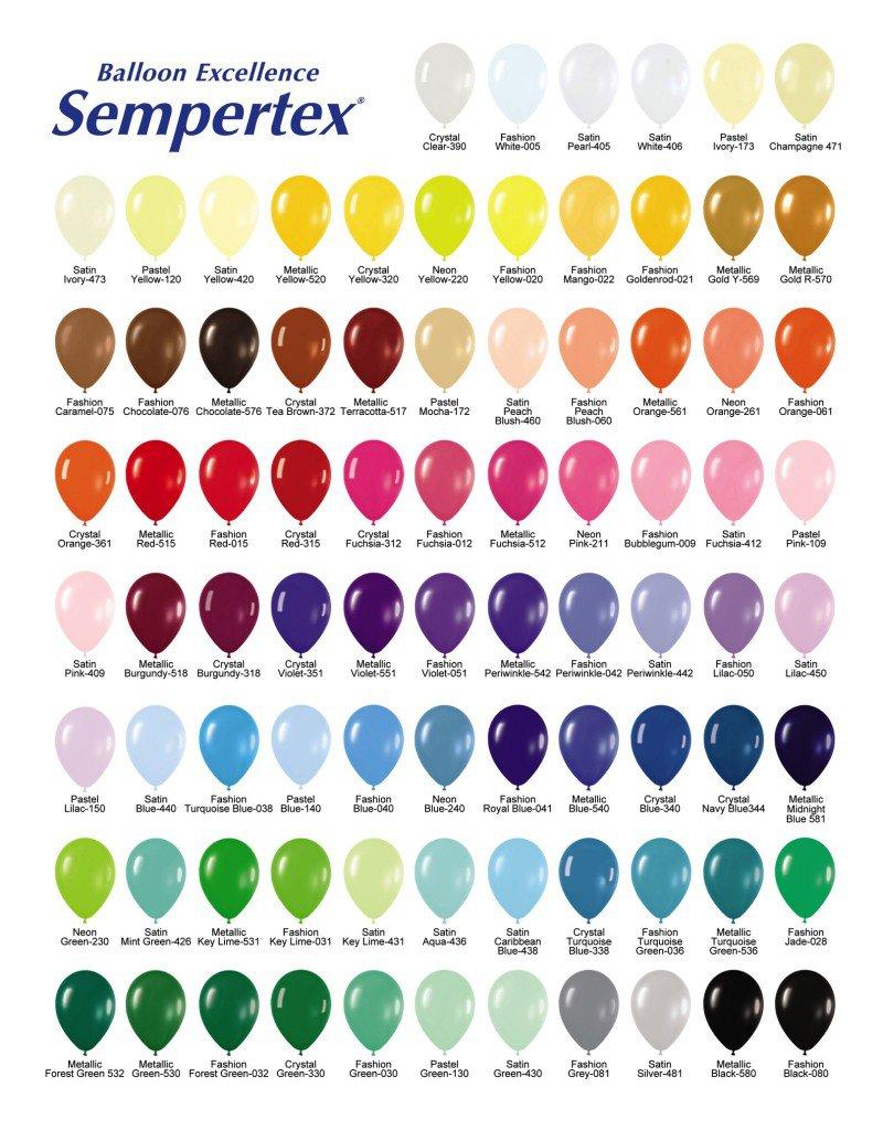 Палитра цветов воздушных шаров, какого цвета бывают воздушные шары, цвета воздушных шаров