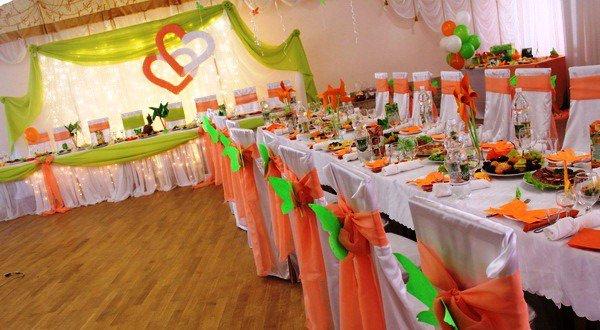 оформление тканью свадьбы, оформление залов тканями
