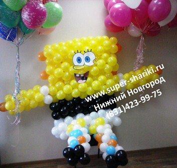 Фигуры из шаров, фигуры из воздушных шаров, игрушки из шариков, спанч боб из воздушных шаров